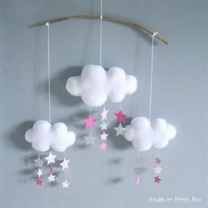 Mobile Bébé Nuage : mobile d cortif nuages et pluie d 39 toiles gris blanc rose by etoiles et petits pois ~ Teatrodelosmanantiales.com Idées de Décoration