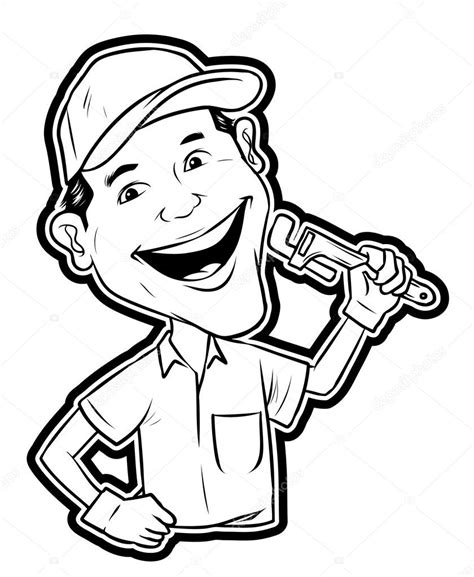 14785 plumber clipart black and white illustration of repair stock vector 35294449