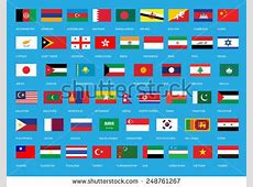 Flags Asia All Asian Continent Flags Stock Vector