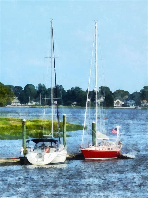 Boats For Sale In Norwalk Ct by Boat Two Docked Sailboats Norwalk Ct Photograph By Susan