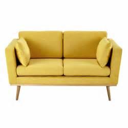 sofa maison du monde 2 seater fabric sofa in yellow timeo maisons du monde