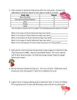 grade valentines day math word problems  answer