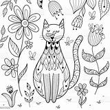Coloring Butterfly Nose Sitting Cats Printable Coloriage Colouring Outline Chat Insect Dans Poster Posterlounge Zen Comme Nature Ce Ausmalposter Animal sketch template