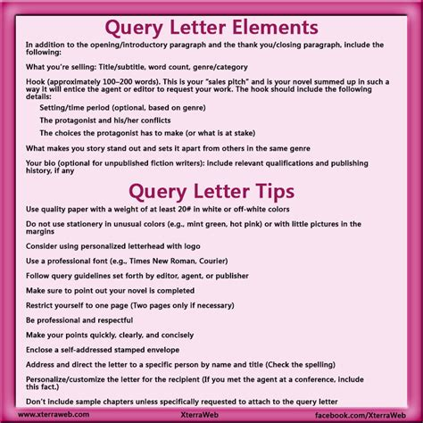 exles of query letters query letter tips xterraweb 4944