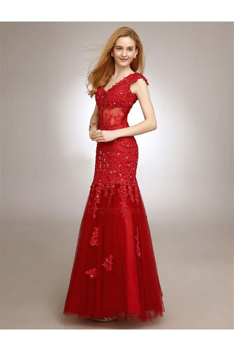 Trumpet/Mermaid V-Neck Long Red Beaded Applique Prom ...