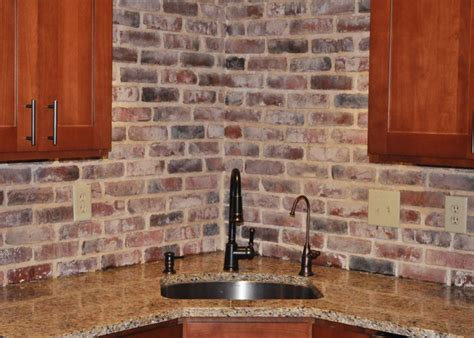 brick backsplash in kitchen brick veneer backsplash veneer kitchen
