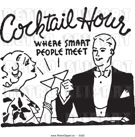 vintage cocktail party clipart retro clipart cocktail party pencil and in color retro