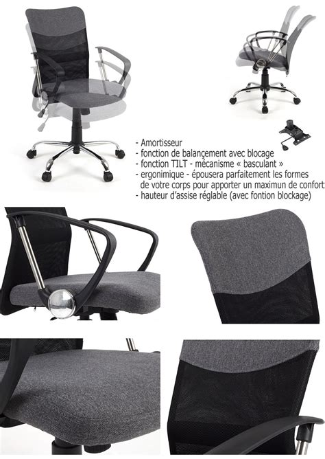 si鑒e selle ergonomique siège de bureau ergonomique avec support du dos tilt gris conforama