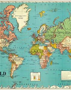 Vintage Poster - World Map No  4  70x50cm