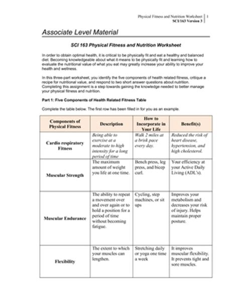 sci 163 physical fitness and nutrition worksheet