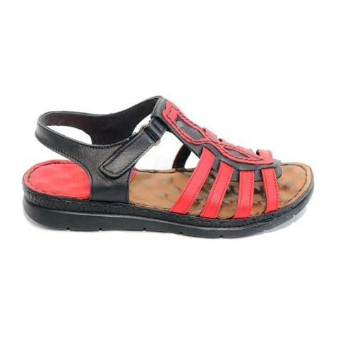 Sandale Dama, 614 Rosu+Negru, Din Piele Naturala | Pret ...