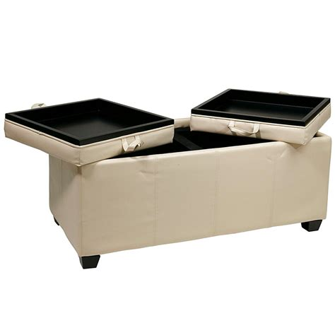 Storage Ottomans With Trays - storage ottoman with dual trays in ottomans