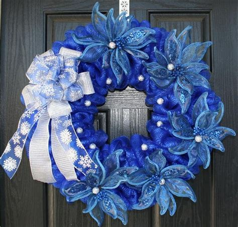 silver mesh christmas ribbon blue and silver poinsettia mesh wreath wreaths blue and