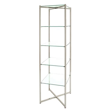 Glass Etagere by Adjustable 5 Shelf Glass Etagere