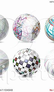 Clipart 3d Spheres With Colorful Patterns - Royalty Free ...