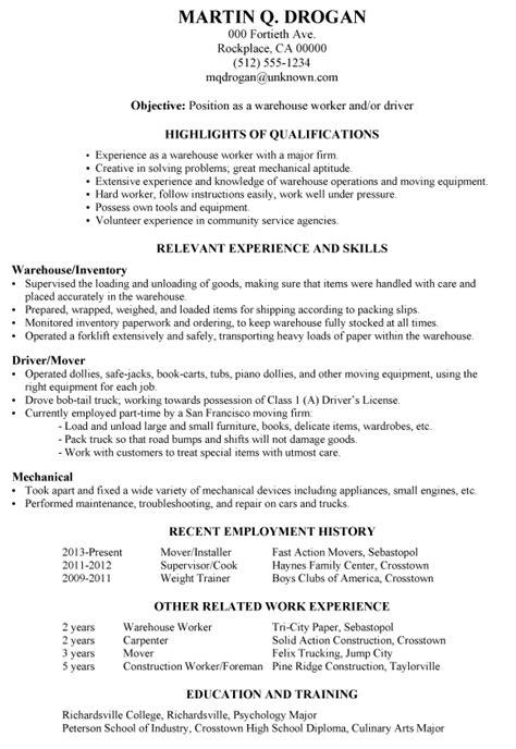 functional resume   warehouse worker
