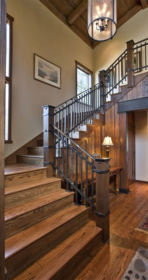 macpherson construction  design interiors projects dream home   rustic stairs
