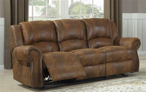 microfiber or leather sofa homelegance quinn double reclining sofa bomber jacket