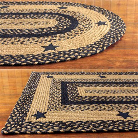 Black And Tan Braided Rug With Stars Primitive Country