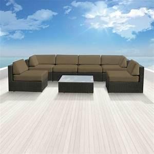 Luxxella patio bella genuine outdoor wicker furniture 7 for 7 piece sectional sofas