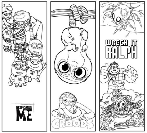 bookmarks to color coloring pages crafts disney bookmarks