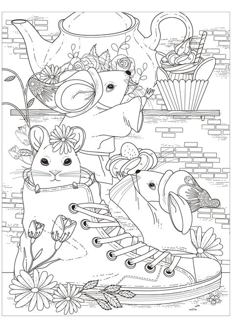 tea party    mice mouses adult coloring pages