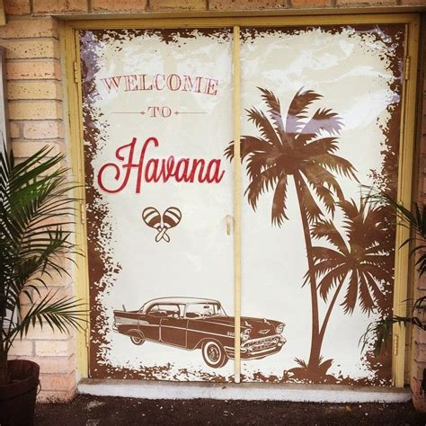custom door sign   cuban themed party havana