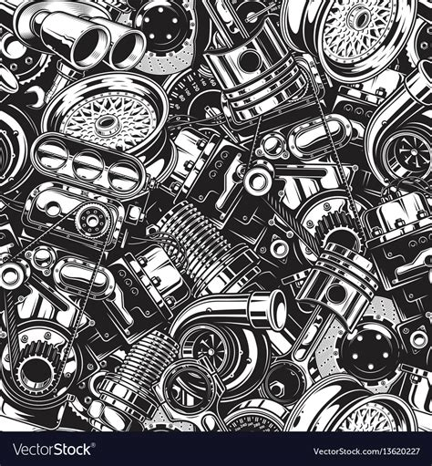 Automobile Car Parts Seamless Pattern Royalty Free Vector