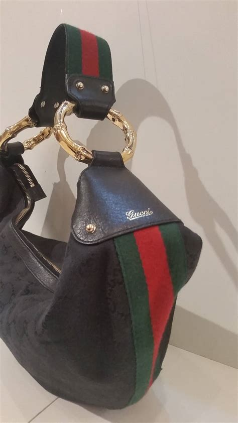 gucci  moon hobo bamboo black bag  stdibs