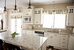 Love the granite color with the white cabinets for Kitchen colors with white cabinets with like us on facebook stickers