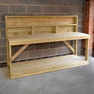 Wooden Work Bench With Back Panel - Heavy Duty - Hand Made