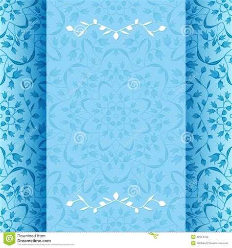 invitation card  blue flowers stock photo image