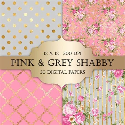gold foil shabby chic digital papers pink  grey polka