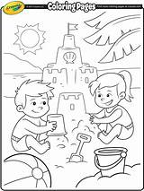 Coloring Beach Fun Sand Castle Pages Building Crayola sketch template