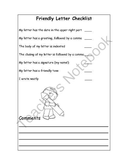 childs friendly letter writing checklist knowledge