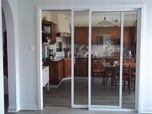 Separation coulissante en cloison vitree for Porte de garage coulissante et porte vitrée intérieur bureau