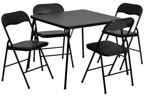 5 black folding card table and chair set from