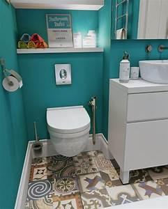 Badezimmer Fliesen Streichen : streichen badezimmer patchwork fliesen tuerkis wand gestalten toilette modern schrank bad ~ Markanthonyermac.com Haus und Dekorationen