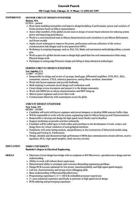 circuit design engineer resume sles velvet
