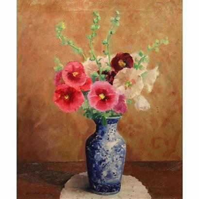 Painting Oil Vase Still Flowers