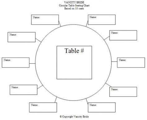 Table Seating Diagram Printable by Circular Table Chart For 10 Guests Weddings And Such