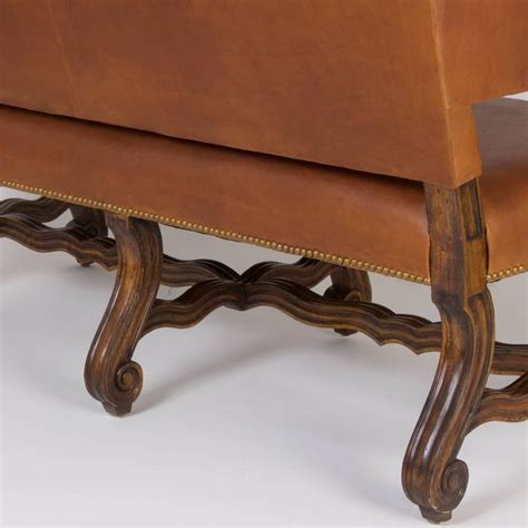 Brown Leather Settee Sale by Handsome Ralph Style Brown Leather Settee At 1stdibs
