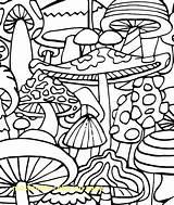 Mushroom Coloring Trippy Printable Getcolorings sketch template