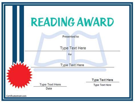 Reading certificate template costumepartyrun certificate street free award certificate templates no yadclub Choice Image