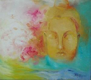 Nature And Buddha Painting by Mahesh Raval