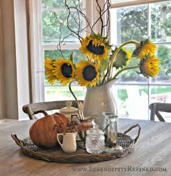 serendipity refined inside the farmhouse fall decorating with pumpkins pinecones and