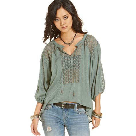 peasant blouses free lace peasant blouse in green green lyst