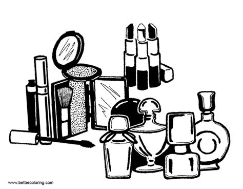 Coloring With Makeup by Accessories Of Makeup Coloring Pages Free Printable