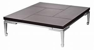 Table Basse Cuir : table basse mdf inox cuir so skin ~ Teatrodelosmanantiales.com Idées de Décoration