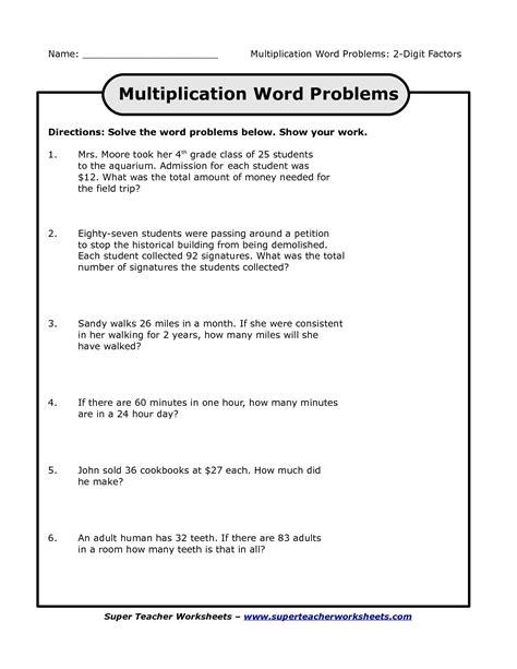 multiplication worksheets   grade story problems
